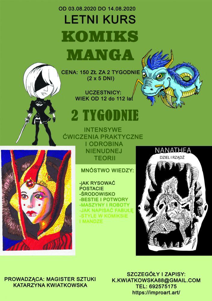 Zapraszam na Letnie Kursy Kreatywne! Komiks, manga, rysunek, malarstwo!