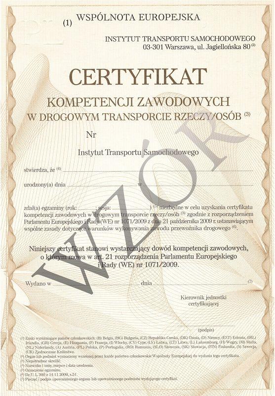 Certyfikat Kompetencji Zawodowych na przewóz rzeczy